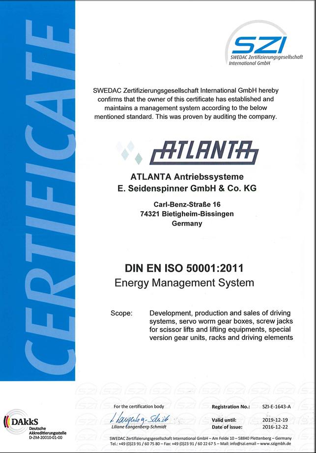 Zertifikate ISO 50001 englisch